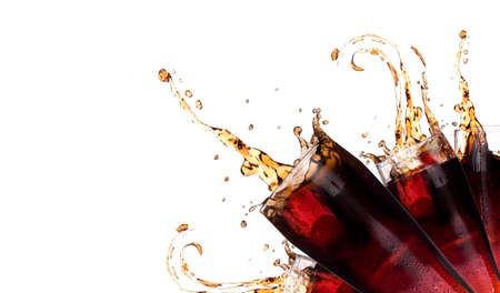 carbonated drink: Fresh coke background with splash isolated on a white