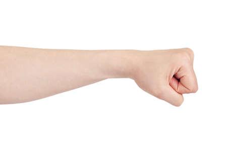 fist pump: Powerful fist pump against woman hands a white background
