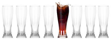 head start: full and empty glass of fresh coke isolated on a white background leader concept