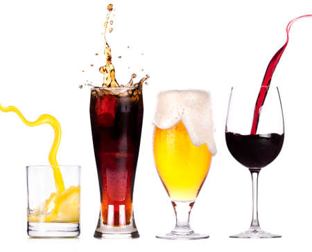알코올의 서로 다른 이미지의 컬렉션은 흰색 배경에 고립 스톡 사진