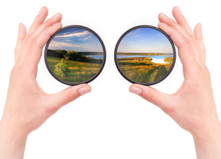 view through: beautiful landscape throw camera filter isolated on a white background