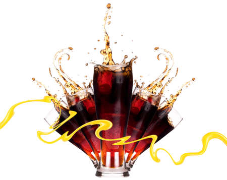 Fresh coke background with ice and splash isolated on a white Stock Photo - 15446394