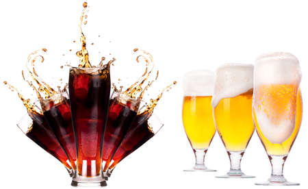 Collection of different images of drinks isolated isolated on a white background photo