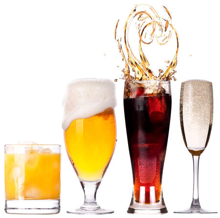 Collection of different images of alcohol isolated on a white background photo
