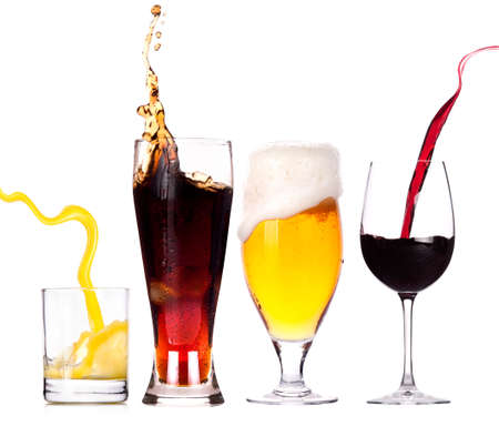 sodas: Collection of different images of alcohol isolated on a white background