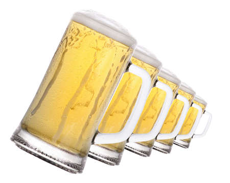 isolated  Frosty glass of beer on a white background photo