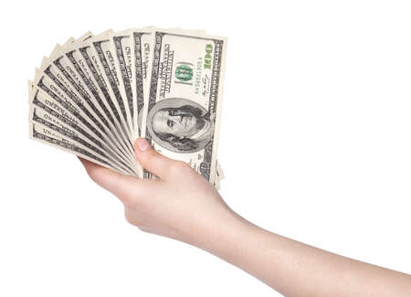 female hands with dollars isolated on a white background photo