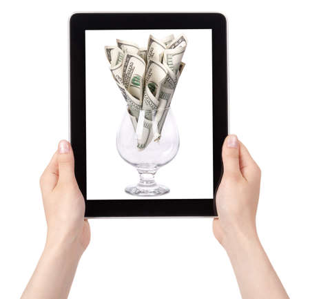money flower business concept present on a Tablet pc screen photo