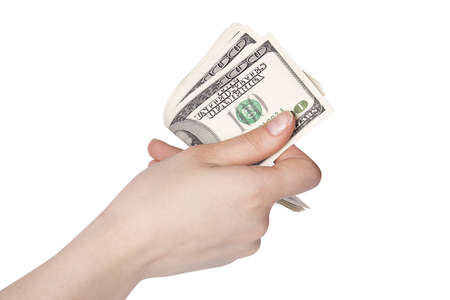 female hands with money isolated on a white background photo
