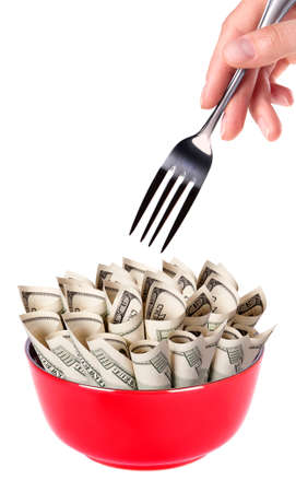 Concept image of food money - red plate full of money and Chinese chopsticks isolated Stock Photo - 15968632