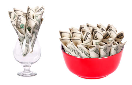 Concept image of food money - red plate and wine glass full of american money isolated Stock Photo - 15968638