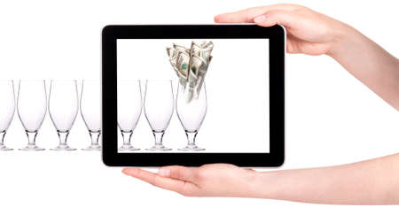head start: business leader concept with tablet PC screen  isolated on a white background