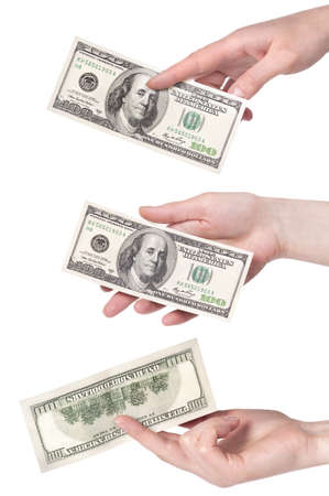 female hands with money set isolated on a white background photo