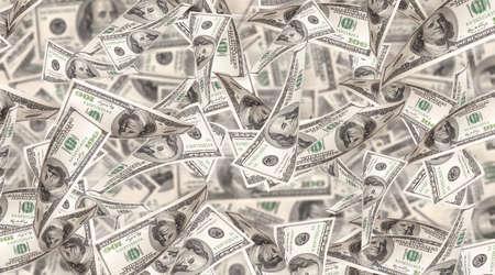 abundance money: Flying Money - american dollars background