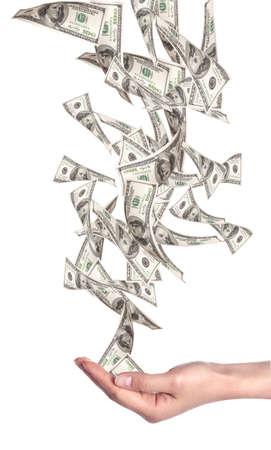 흰색 배경에 고립 된 미국 달러 - 돈을 비행