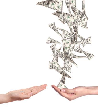 donna ricca: concetto di poveri e ricchi con i soldi isolato su uno sfondo bianco Archivio Fotografico