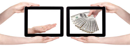 poor and rich concept with money and pc tablet isolated on a white background photo