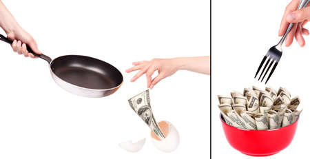 financial kitchen concept-cook and eat money backgrounds Stock Photo - 16281145