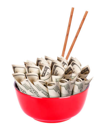Concept image of food money - red plate full of money and Chinese chopsticks isolated Stock Photo - 16281133