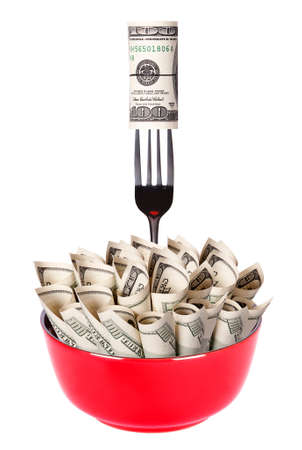 Concept image of food money - red plate full of money and Chinese chopsticks isolated Stock Photo - 16281134