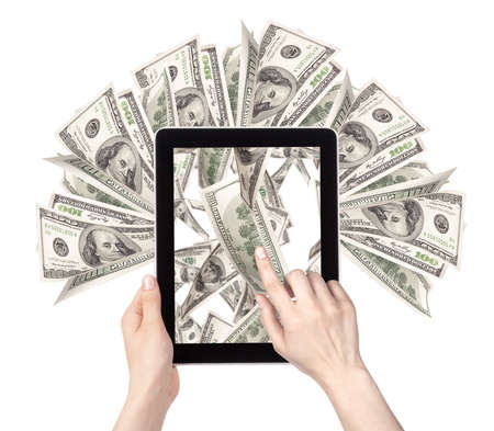 tablet pc in hand: lot of money on a Tablet pc screen with woman hands isolated on a white background Stock Photo