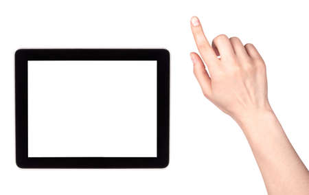 Touch screen tablet computer with blank screen and woman hand isolated photo