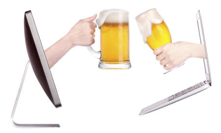 beer toasting to show internet business success isolated photo