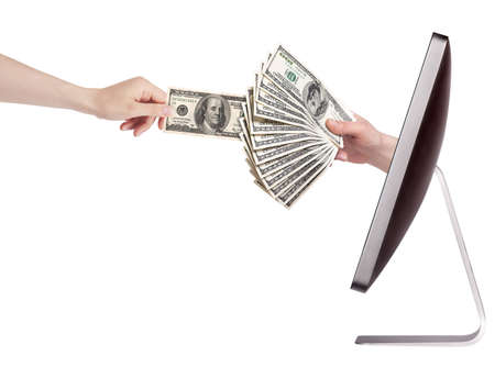 computer making money concept isolated with woman hand photo