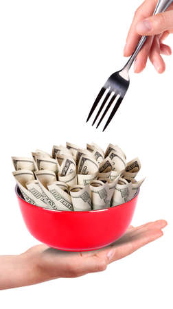 Concept image of food money - red plate full of money and hand with fork isolated Stock Photo - 16402145