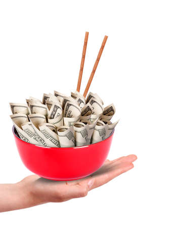 Concept image of food money - red plate full of money and Chinese chopsticks isolated Stock Photo - 16402144