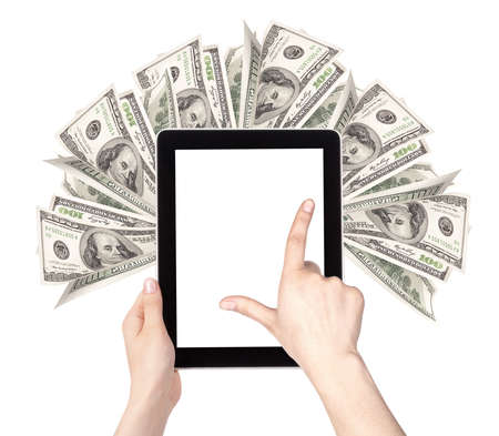 lot of money on a Tablet pc screen with woman hands isolated on a white background Stock Photo - 16478639