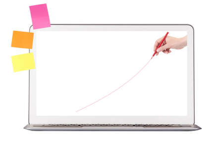 laptop display  with hand drawing red line isolated photo