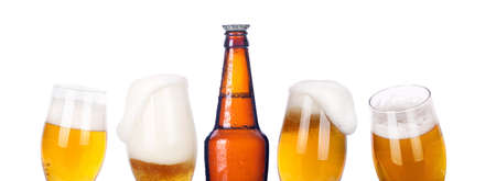 beer background: isolated Frosty beer set with kings bottle on a white background