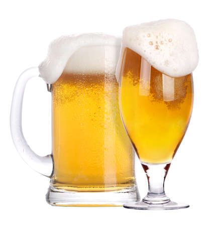 mug of ale: Frosty glass of light beer isolated on a white background