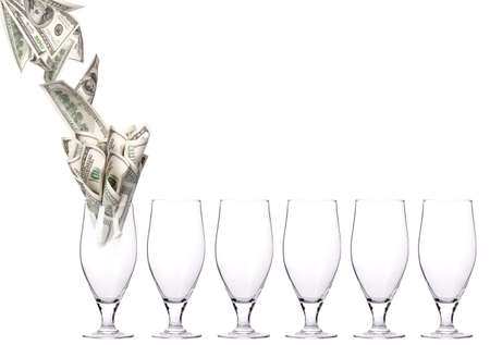 head start: money Cocktail  Business leader concept  isolated on a white background
