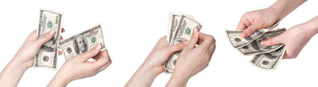 female hands with dollars set isolated on a white background photo