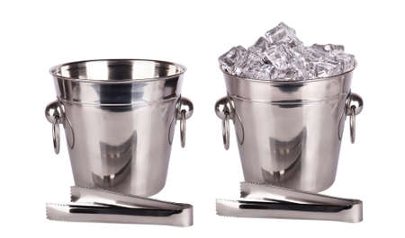 ice tongs: full and empty ice bucket with  Ice tongs isolated on a white background Stock Photo