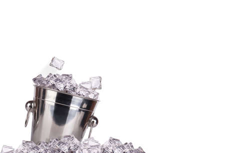 full of ice bucket isolated on a white background Stock Photo - 16810474