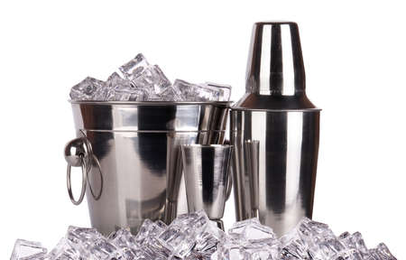 bar accessories with ice - bucket,shaker,tongs,jigger. isolated photo
