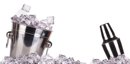 special steel: full of ice bucket isolated on a white background