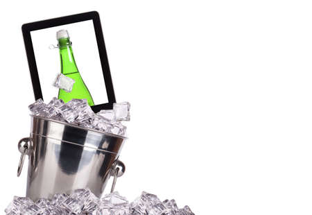 computer champagne concept - champagne on a digital tablet screen in ice bucket isolated Stock Photo - 16852438