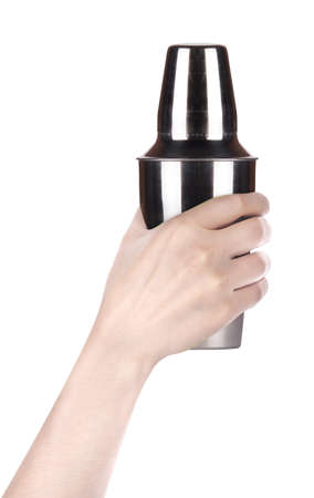 Cocktail shaker  Isolated with hand on white background Stock Photo - 16877796