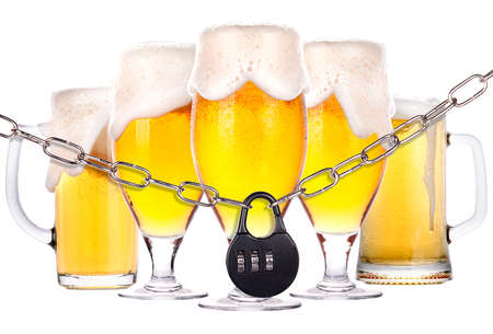 alcoholism concept - background with beer locked on a chain  isolated Stock Photo - 16877825