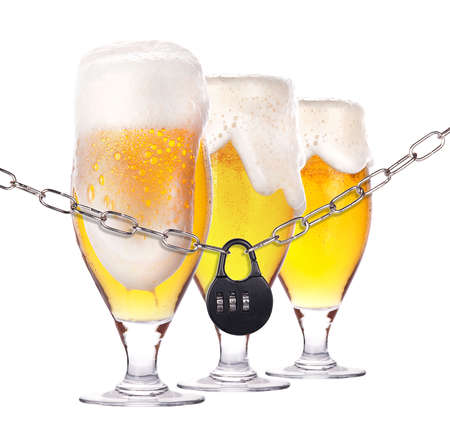 alcoholism concept - background with beer locked on a chain  isolated Stock Photo - 16877826