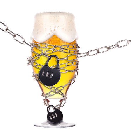 alcoholism concept - background with beer locked on a chain  isolated Stock Photo - 16877815