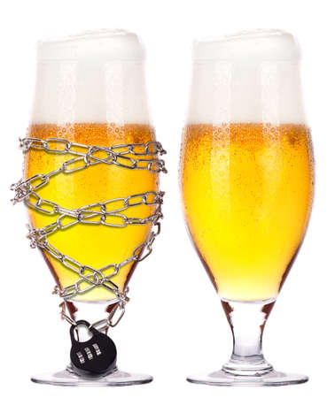 alcoholism concept - background with beer locked on a chain  isolated Stock Photo - 16909922