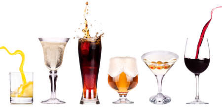 different images of alcohol isolated - beer,martini,champagne,cola,wine,juice photo