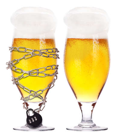 alcoholism concept - background with beer locked on a chain  isolated Stock Photo - 16909923