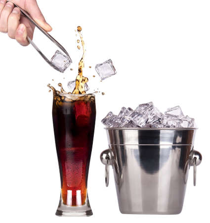Fresh cola drink background with ice and splash isolated on a white photo