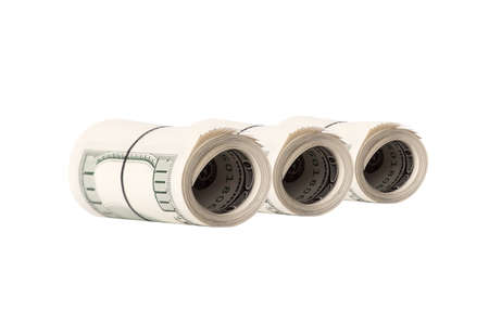 tightened: Dollar roll tightened with band  Rolled money isolated on white
